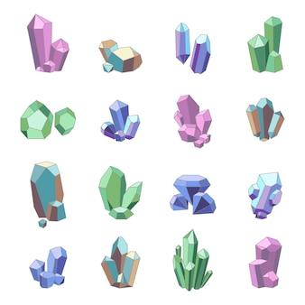 Zestaw kryształów minerałów