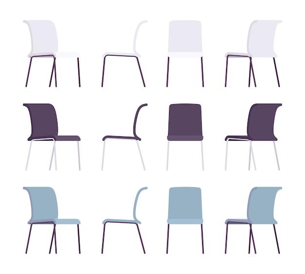 Zestaw krzeseł biurowych w różnych kolorach