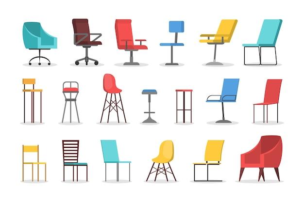 Zestaw krzeseł. kolekcja wygodnych mebli, nowoczesne siedzisko