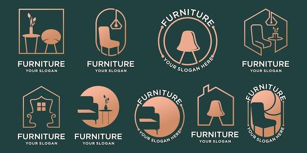 Zestaw krzeseł, stołów, kolekcja logotypów mebli oraz oświetlenie dekoracyjne do domu. szablon projektu logo wektor premium