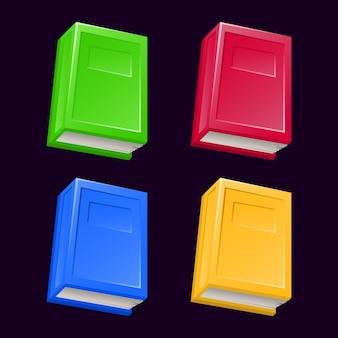 Zestaw książek fantasy w różnych kolorach dla elementów aktywów interfejsu gry