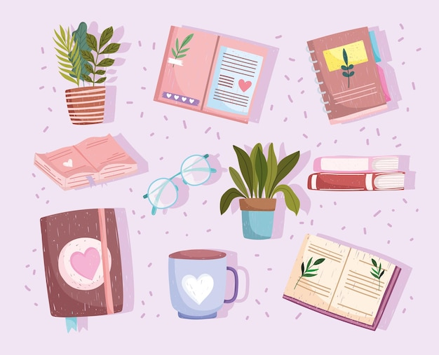 Zestaw książek, filiżanka kawy i ilustracji roślin