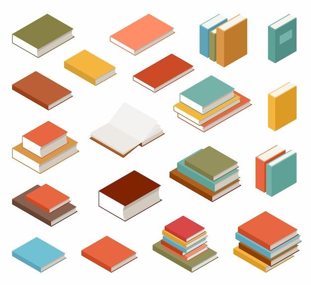 Zestaw książek i podręczników na białym tle