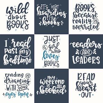 Zestaw książek ręcznie rysowane plakat typografii. koncepcyjne odręczne wyrażenie t shirt ręcznie napisane kaligraficzne projekt. inspirujący wektor
