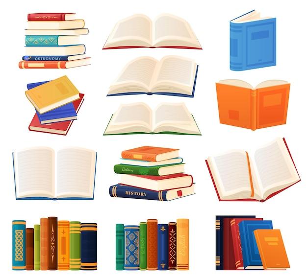 Zestaw książek różnego rodzaju. regały na książki. biblioteka. ilustracja wektorowa