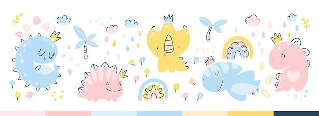 Zestaw księżniczki dino. dinozaury dziewczyny z koronami w dżungli z tęczą, kwiatami, deszczem. dziecięcy, ręcznie rysowany styl skandynawski. ilustracja wektorowa na ubrania dla dzieci, opakowania, tapety, tekstylia.