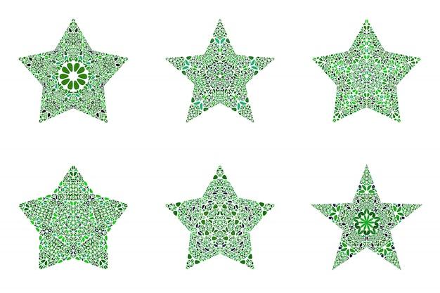 Zestaw kształt gwiazdy geometryczne streszczenie kwiatowy mozaiki