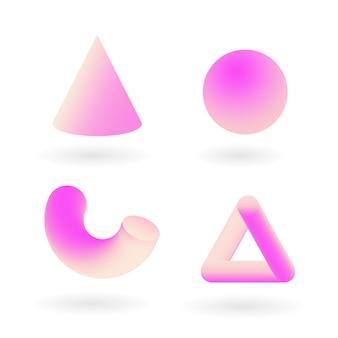 Zestaw kształtów 3d różowy geometrii. elementy projektu wektorowego dla mediów społecznościowych i treści wizualnych, projektowanie stron internetowych i interfejsu użytkownika, plakaty i kolaż artystyczny, brandin