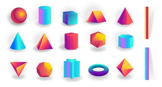 Zestaw kształtów geometrycznych 3d i edytowalnych obrysów z holograficznym gradientem na białym tle