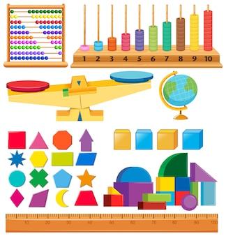 Zestaw kształtów geometrycznych i innych przedmiotów szkolnych