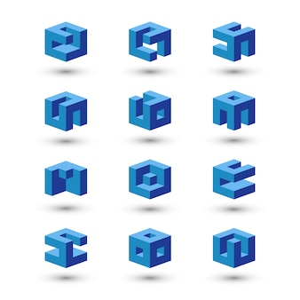 Zestaw kształtów kostki. szablony logo streszczenie.
