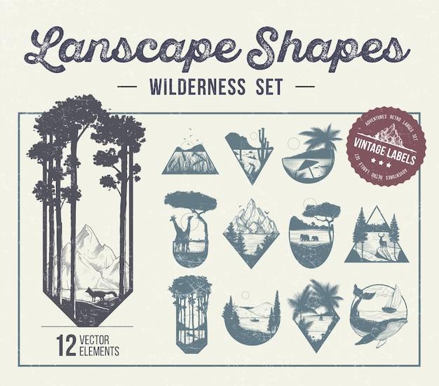 Zestaw kształtów krajobrazu, ikon lub etykiet. ilustracja wektorowa