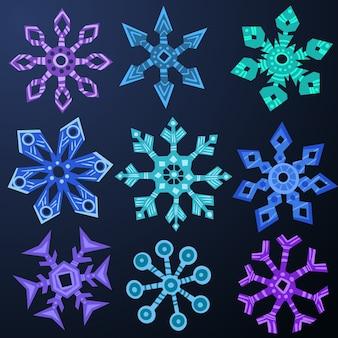 Zestaw kształtów płatka śniegu.