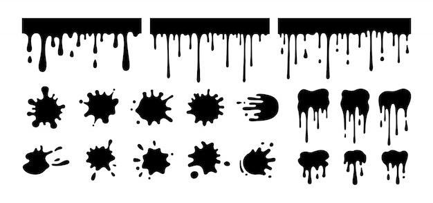 Zestaw kształtów rozbryzgowych. czarna sylwetka, kolekcja glifów z rozpryskami okrągłego atramentu, ozdobne kształty płynów. grunge plamy, krople, rozpryskuje stylu cartoon. kolekcja plam z atramentu. ilustracja na białym tle