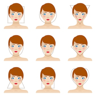 Zestaw kształtów różnych twarzy kobiety. dziewięć ikon. dziewczyny o niebieskich oczach, czerwonych ustach i brązowych włosach. kolorowa ilustracja.