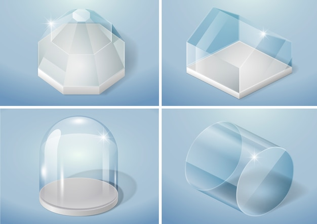 Zestaw kształtów szklanych
