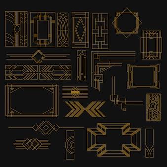 Zestaw kształtów w stylu art deco