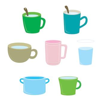 Zestaw kubków kawy na białym tle