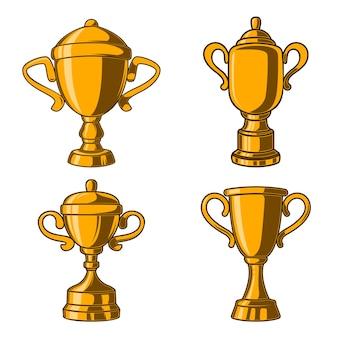Zestaw kubków zwycięzców w stylu grawerowania