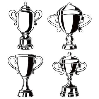 Zestaw kubków zwycięzców w stylu grawerowania.
