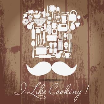 Zestaw kuchenny ikony główny kucharz