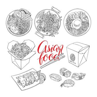 Zestaw kuchni azjatyckiej. bibimbap, gedza, ramen i sushi. ręcznie rysowana ilustracja