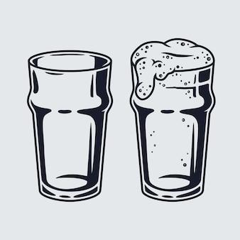 Zestaw kufel do piwa z piankowym menu barowym i pubowym. kieliszki okularów na bawarski festiwal październikowy