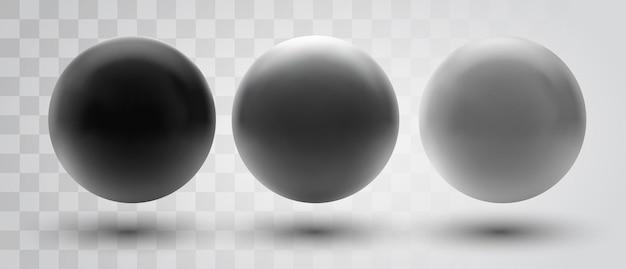 Zestaw kul i kulek na białym tle biały z cieniem.