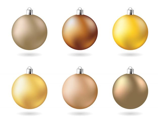 Zestaw kulek imprezowych w noworocznym kolorze matowego żółtego złota