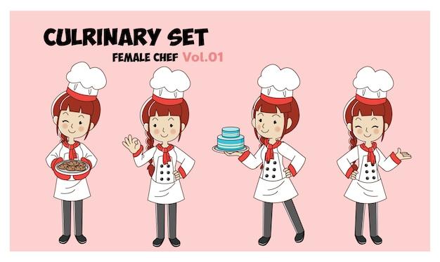 Zestaw kulinarny charakter ilustracja kreskówka, kobieta kucharz, szefowie kuchni do gotowania. profesjonalny zestaw szefa kuchni.