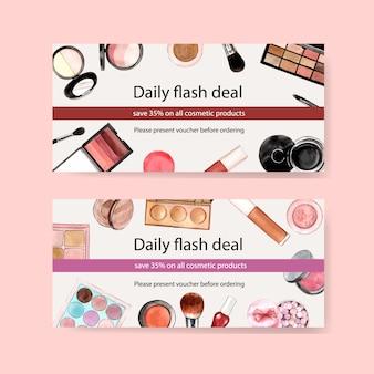 Zestaw kuponów kosmetycznych z pędzelkiem, cień do powiek, szminka