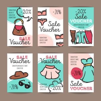 Zestaw kuponów rabatowych dla kobiet ubrania