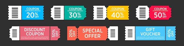 Zestaw kuponów sprzedażowych w płaskiej konstrukcji. kolekcja etykiet rabatowych