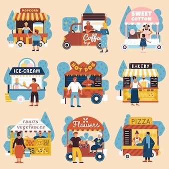 Zestaw kupujących sprzedawców ulicznych
