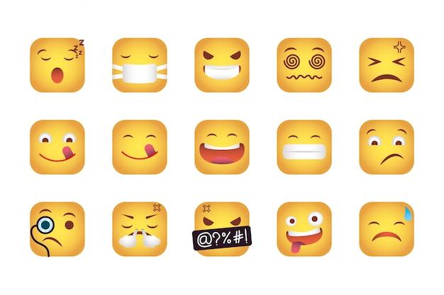 Zestaw kwadratów emotikonów stoi twarze