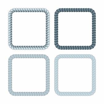 Zestaw kwadratowej czarnej ramy liny monochromatycznej. kolekcja grubych i cienkich ramek na białym tle