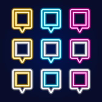 Zestaw kwadratowy neon znak pin mapy.
