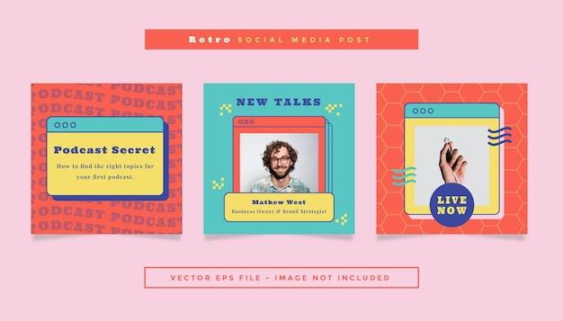 Zestaw kwadratowy post ulotki z czerwonym turkusowym żółtym kolorem podcast retro motyw dla mediów społecznościowych.