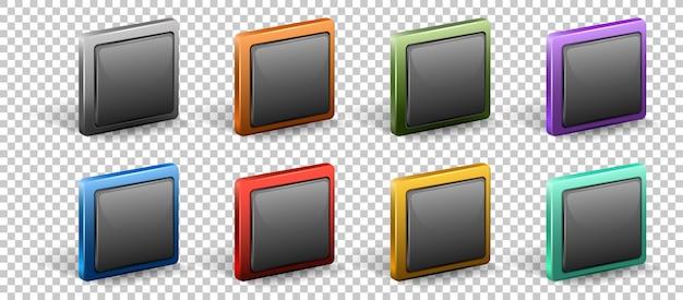 Zestaw kwadratowy przycisk z metalową ramką na białym tle