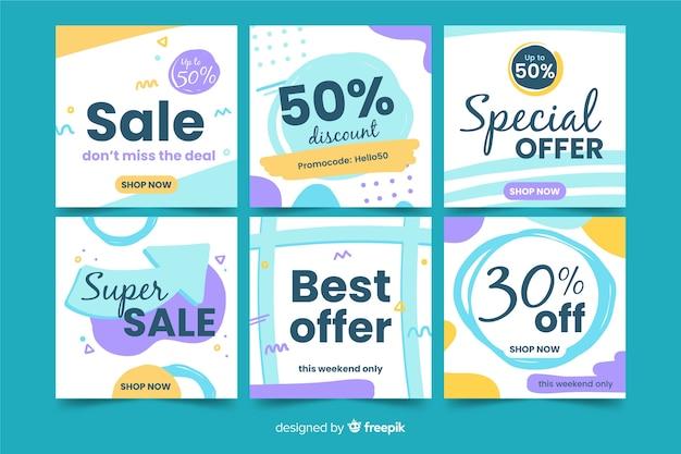 Zestaw kwadratowych banerów sprzedażowych do promocji na instagramie lub w mediach społecznościowych