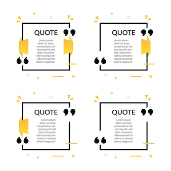 Zestaw kwadratowych cytatów tekst szablonu ramki z geometrycznym stylem memphis