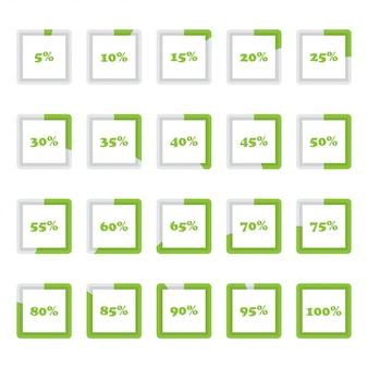 Zestaw kwadratowych diagramów procentowych od 5 do 100 dla infografiki