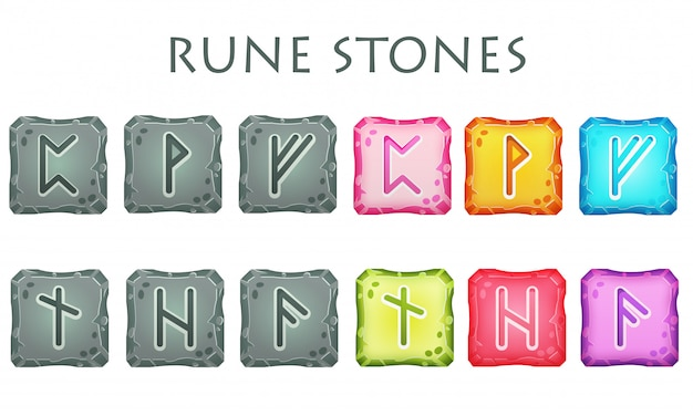 Zestaw kwadratowych kolorowych i szarych kamieni runicznych