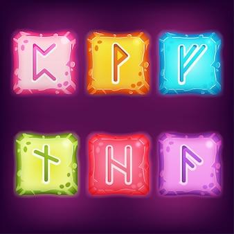 Zestaw kwadratowych kolorowych kamieni runicznych