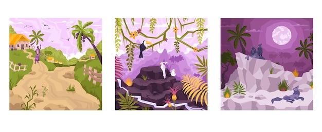 Zestaw kwadratowych kompozycji z płaskimi tropikalnymi krajobrazami