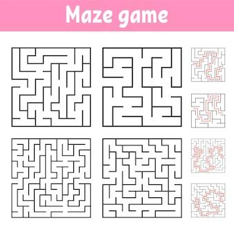 Zestaw kwadratowych labiryntów o różnych poziomach trudności.