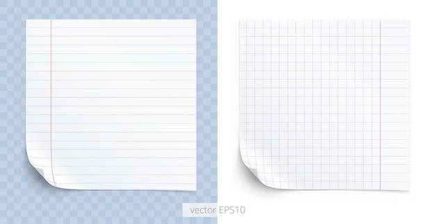 Zestaw kwadratowych naklejek samoprzylepnych tekstura zeszytów szkolnych z papierem w linie i kratkę