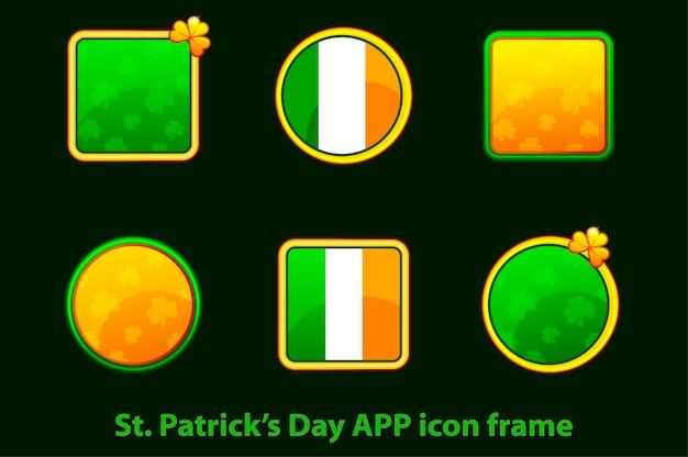 Zestaw kwadratowych, okrągłych ikon z koniczyną i banderą irlandii. ikony na dzień świętego patryka