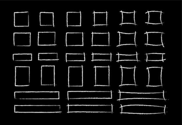 Zestaw kwadratowych ramek w stylu markera kredy