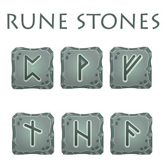 Zestaw kwadratowych szarych kamieni runicznych